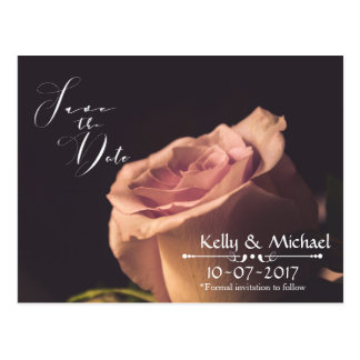 Blush Pink Rose Save the Date Cards