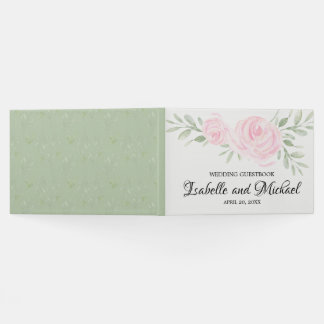 Blush Pink Roses with Sage Green Wedding Guestbook