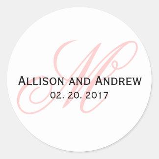 Blush Pink Script Initial M Monogram Wedding Favor Round Sticker