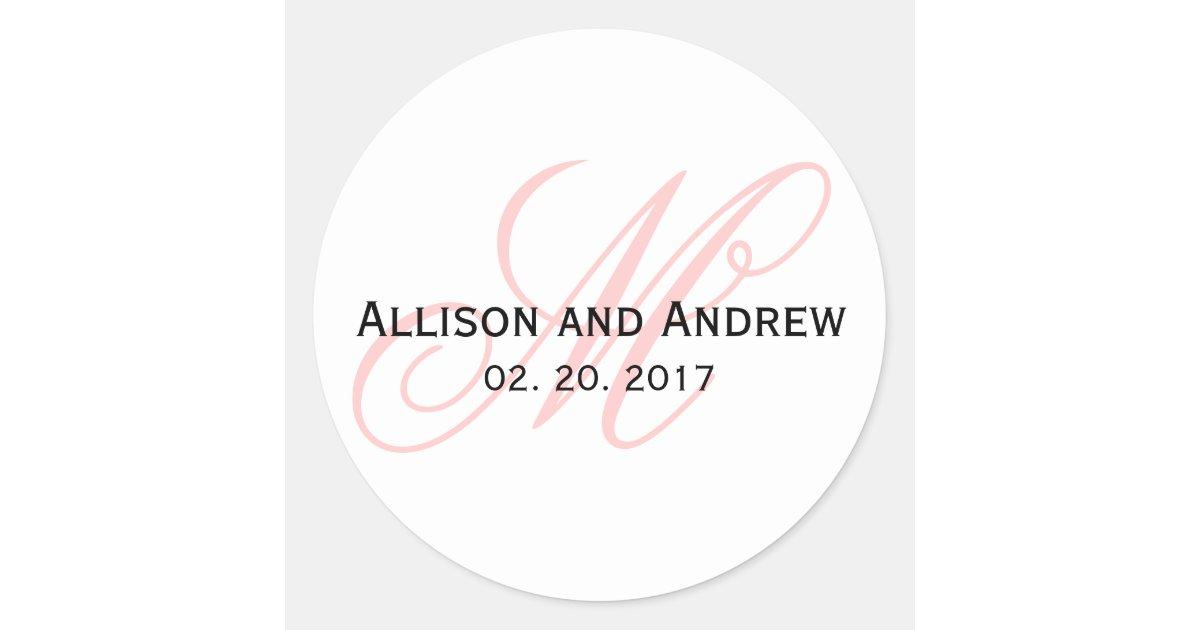Blush Pink Script Initial M Monogram Wedding Round Sticker