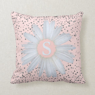 Blush Pink Silver Confetti Dots | Daisy Monogram Throw Pillow