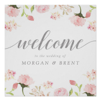 Blush Pink & Silver Floral Wedding Welcome Sign