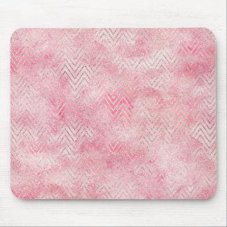 Blush Pink Silver Glitz Chevron Watercolor Mouse Pad
