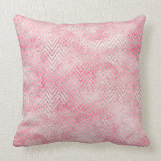 Blush Pink Silver Glitz Chevron Watercolor Throw Pillow