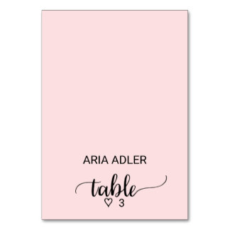 Blush Pink Simple Calligraphy Escort Place Cards