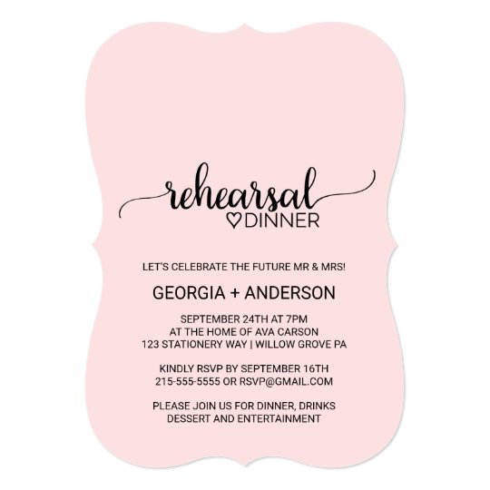 Blush Pink Simple Calligraphy Rehearsal Dinner Card