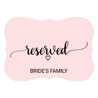 Blush Pink Simple Calligraphy Reserved Sign Card