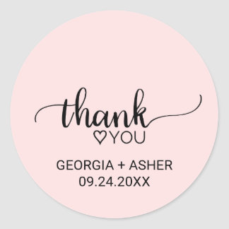 Blush Pink Simple Calligraphy Thank You Favor Classic Round Sticker