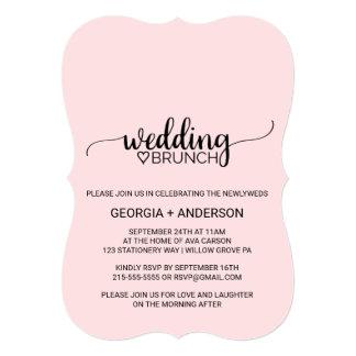 Blush Pink Simple Calligraphy Wedding Brunch Card