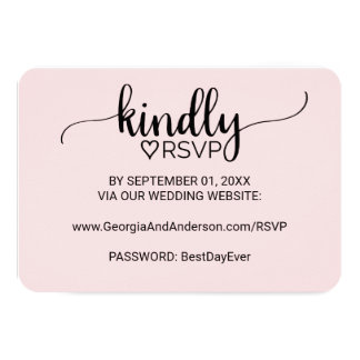 Blush Pink Simple Calligraphy Wedding Website RSVP Card