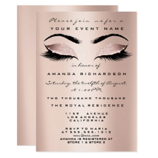 Blush Pink Skinny Makeup Glitter Eyes 16th Bride Card