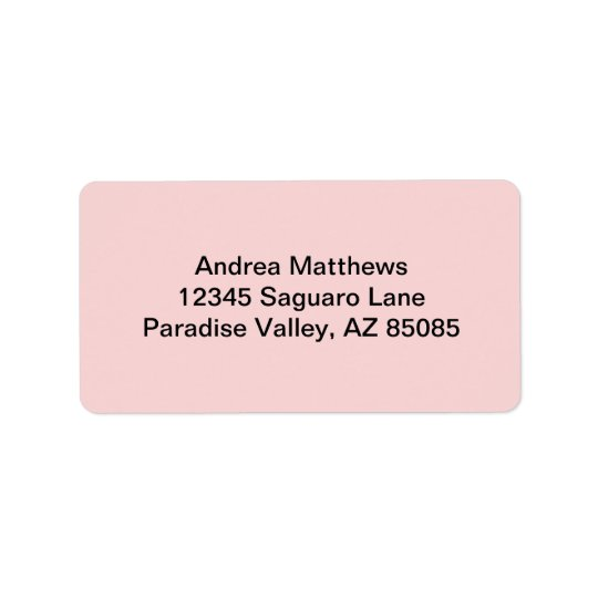 Blush Pink Solid Colour Label