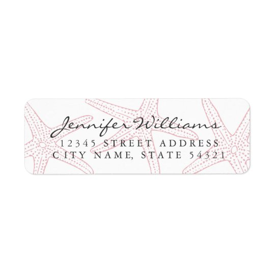 Blush Pink Starfish Return Address Label