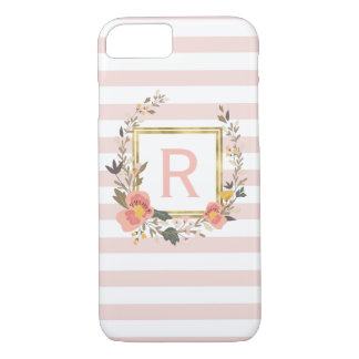 Blush Pink Stripe Elegant Monogram Personalized iPhone 8/7 Case