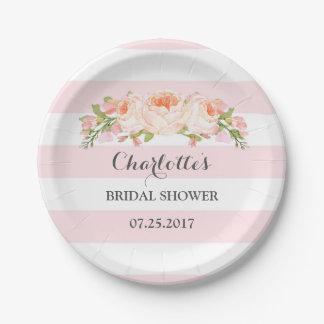 Blush Pink Stripes Floral Bridal Shower Plate