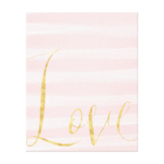Blush Pink Stripes Gold Love Canvas Print