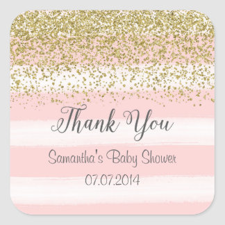 Blush Pink Stripes Thank You Stickers