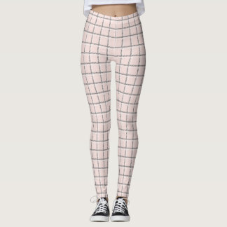 Blush Pink Subtle Plaid Pattern Preppy Leggings