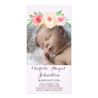 Blush Pink Thank You Baby Shower Personalized Photo Card