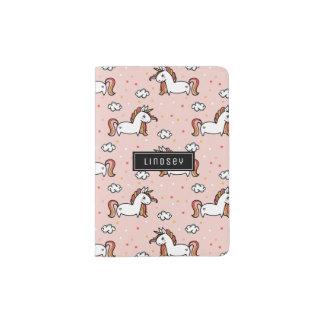 Blush Pink Unicorn Pattern - Custom Name Passport Holder