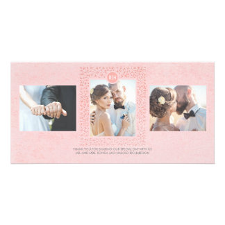 Blush Pink Vintage Floral Wedding Thank You Picture Card
