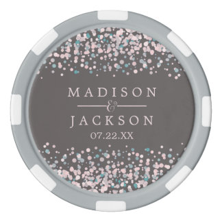 Blush Pink Watercolor Confetti Wedding Favor Poker Chips
