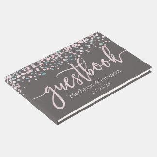 Blush Pink Watercolor Confetti Wedding Monogram Guest Book