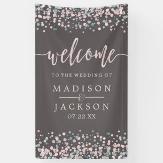 Blush Pink Watercolor Confetti Wedding Welcome Banner