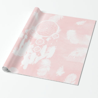 Blush pink watercolor dreamcatcher illustration wrapping paper