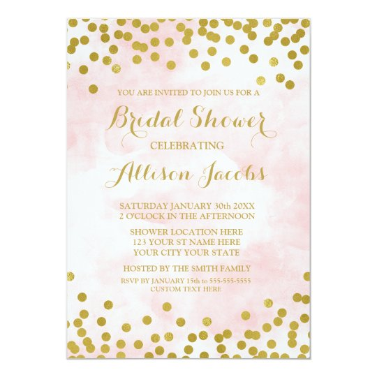 Blush Pink Watercolor Gold Confetti Bridal Shower Card