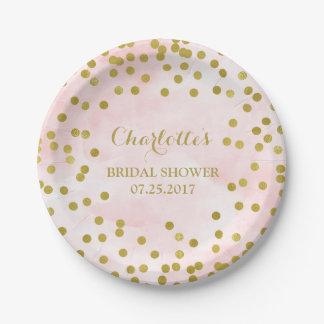 Blush Pink Watercolor Gold Confetti Bridal Shower Paper Plate