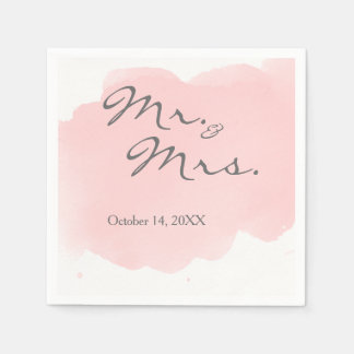 Blush Pink Watercolor Mr Mrs Cocktail Party Napkin Paper Napkins