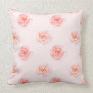 Blush Pink Watercolor Roses Throw Pillow
