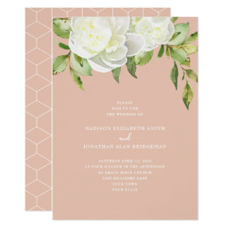 Blush Pink Watercolor Spring Floral Peony Wedding Card