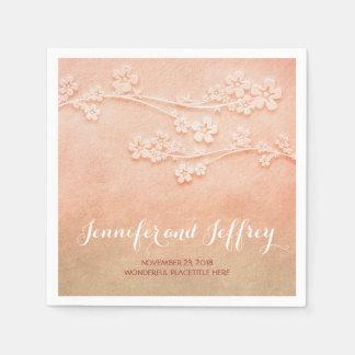 blush pink watercolor wedding paper napkins