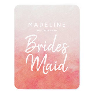 Blush Pink Watercolor Will You Be My Bridesmaid Card