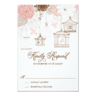 Blush Pink Whimsical Birdcages RSVP Card