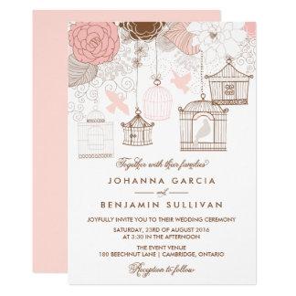 Blush Pink Whimsical Birdcages Wedding Invitation