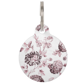 Blush Pink & White Botanical Floral Toile Pet ID Tag