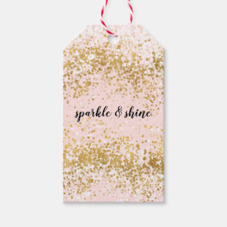 Blush Pink White Gold Confetti Sparkle Gift Tags