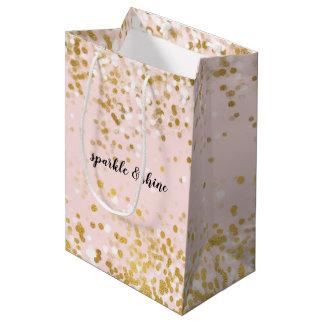Blush Pink White Gold Confetti Sparkle Medium Gift Bag