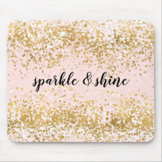 Blush Pink White Gold Confetti Sparkle Mouse Pad