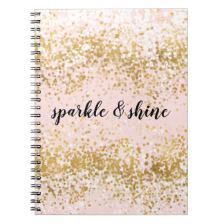 Blush Pink White Gold Confetti Sparkle Notebook