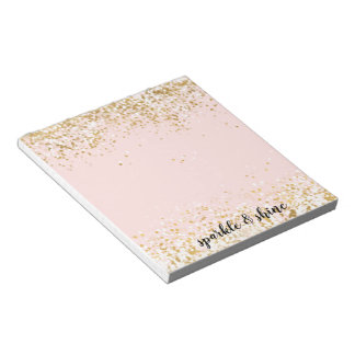 Blush Pink White Gold Confetti Sparkle Notepad