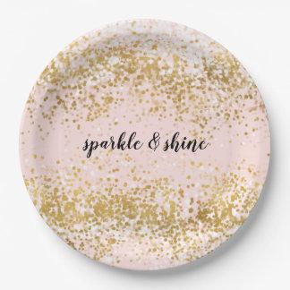 Blush Pink White Gold Confetti Sparkle Paper Plate