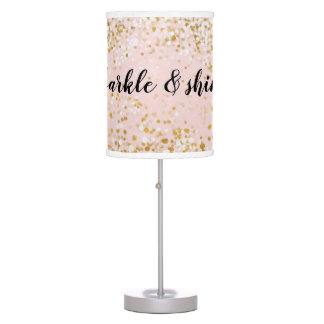 Blush Pink White Gold Confetti Sparkle Table Lamp