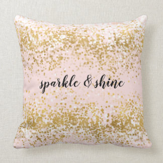 Blush Pink White Gold Confetti Sparkle Throw Pillow