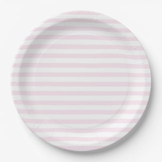 Blush Pink & White Striped Paper Plates