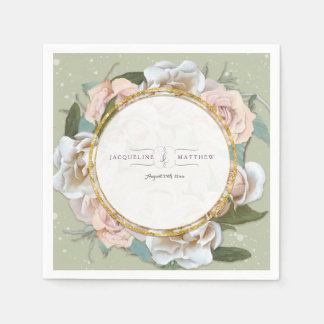 Blush Pink Wild Roses Floral Art Wreath Faux Gold Disposable Napkin