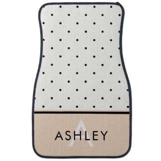 Blush Pink with Black and White Polka Dots Car Mat